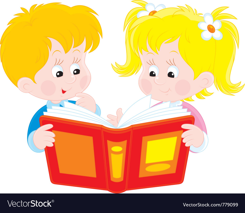 Girl and boy read a book vector