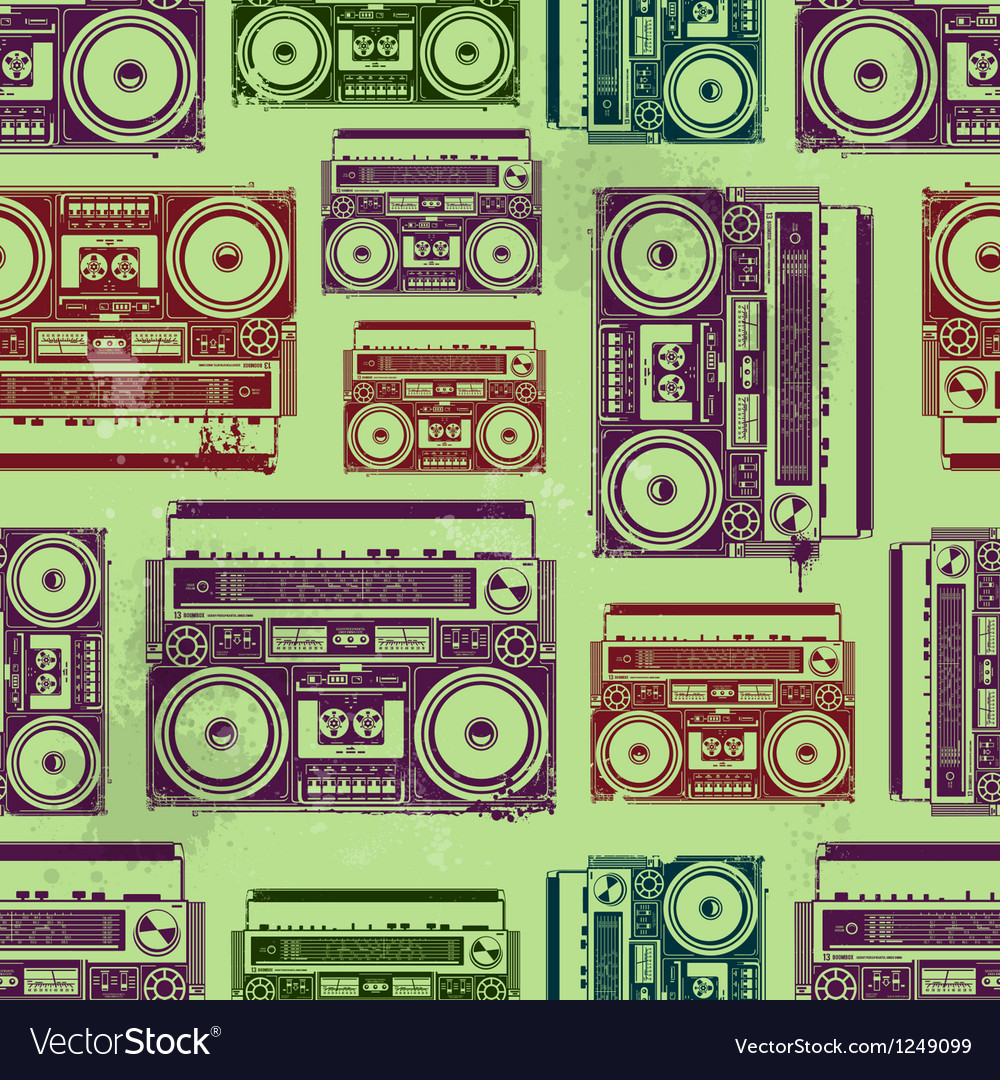 Oldschool tape recorders seamless texture vector