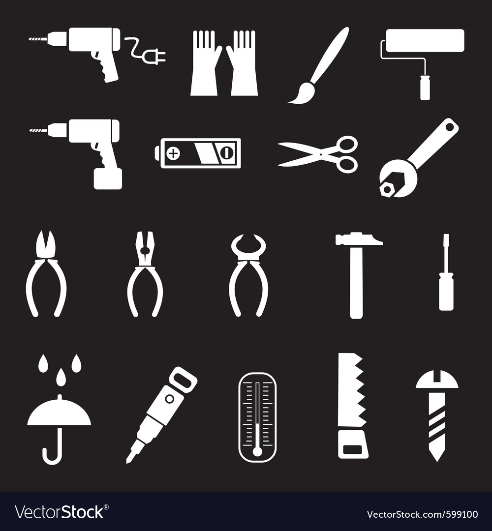 Hand tools and diy tools set of icons isolated sy vector