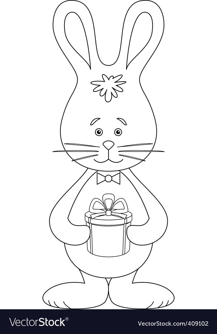 Rabbit with a gift contour vector