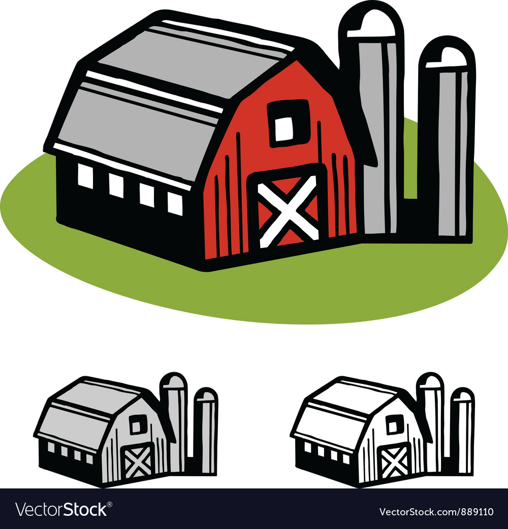 Barn and silos vector