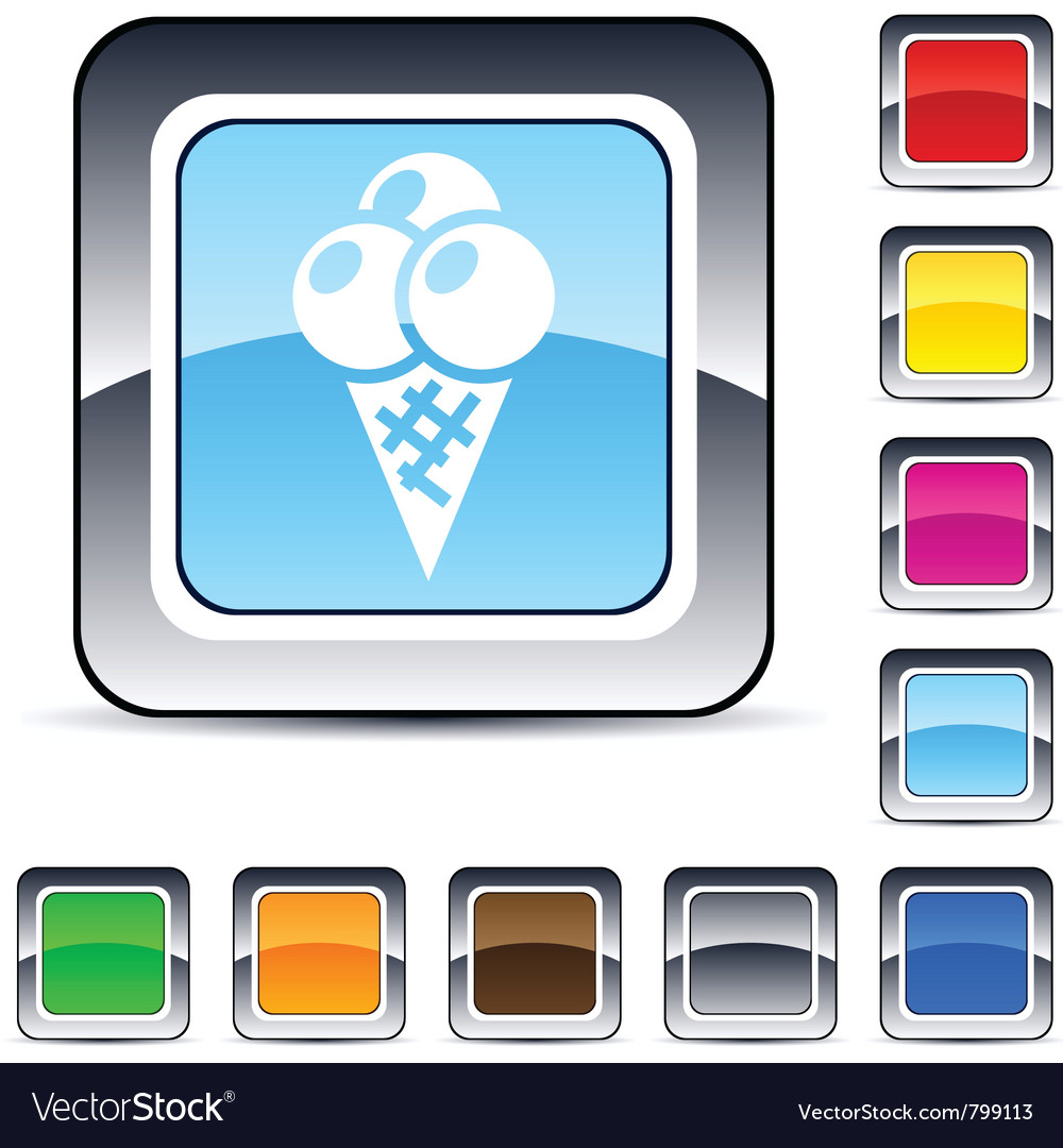 Icecream square button vector