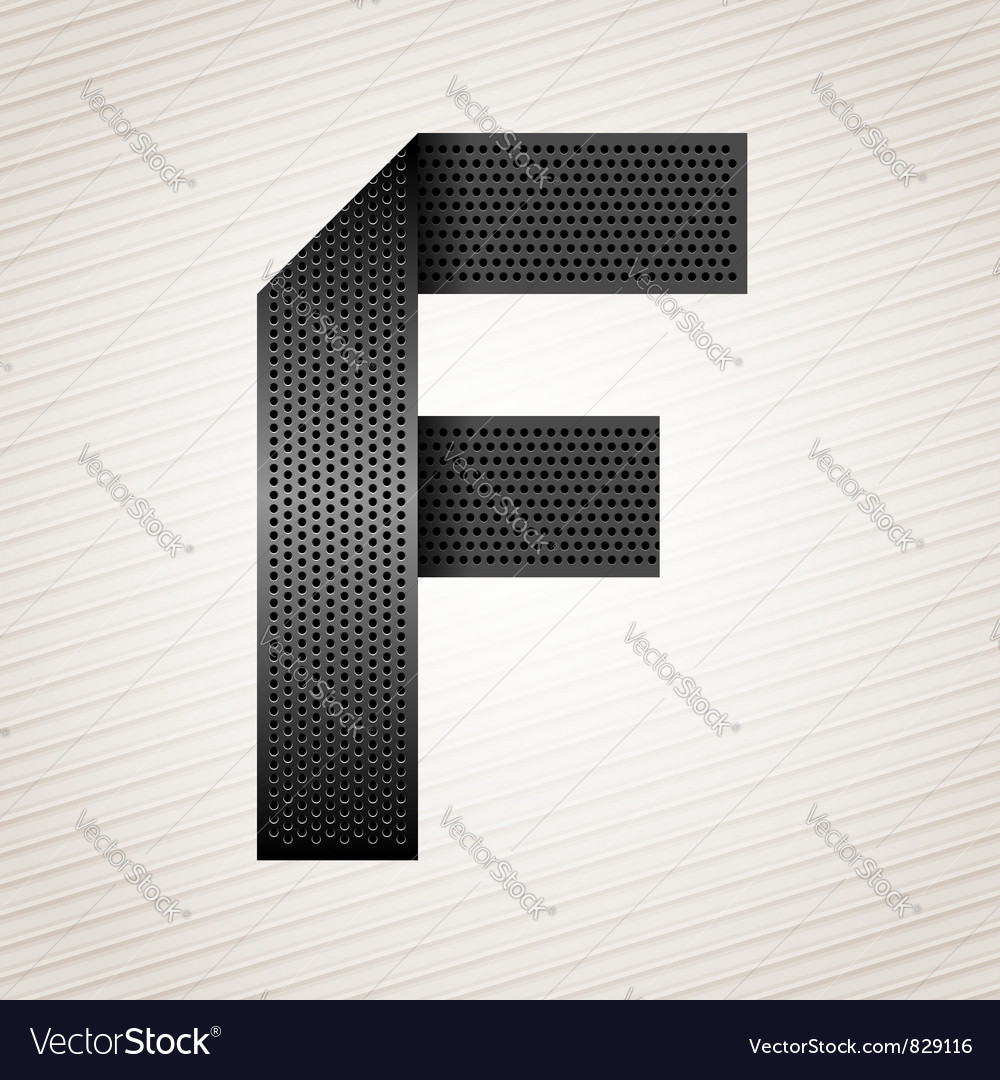 Letter metal ribbon  f vector