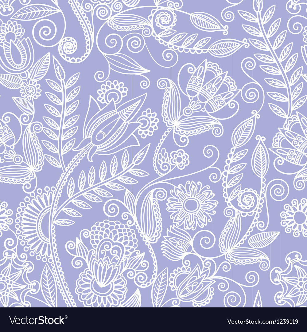 Seamless flower paisley design background vector