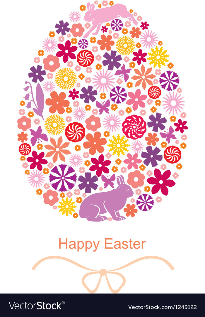 Easter flover egg vector