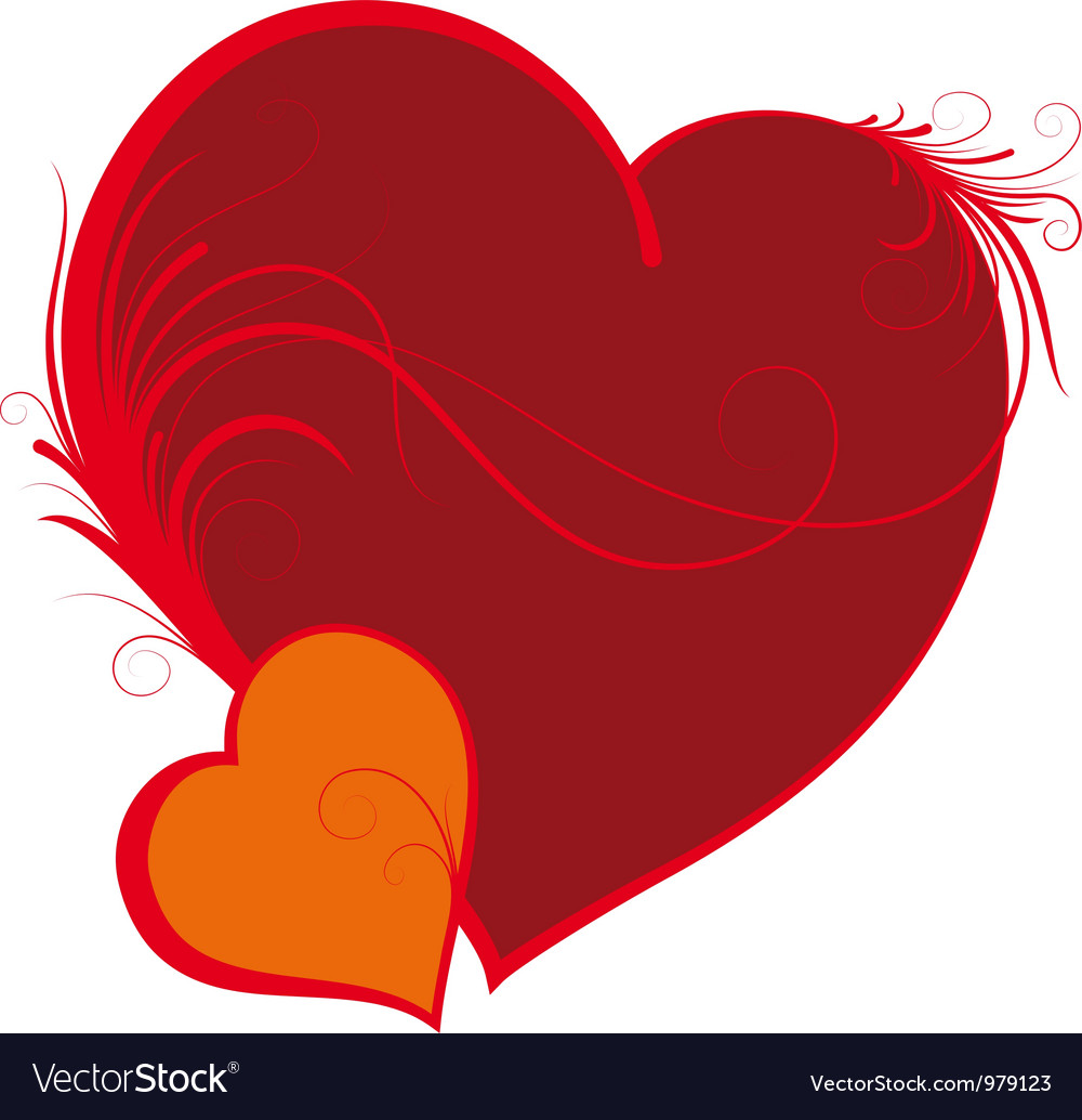 Two hearts valentines day vector