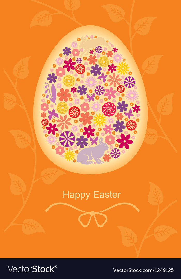 Easter leaf egg vector