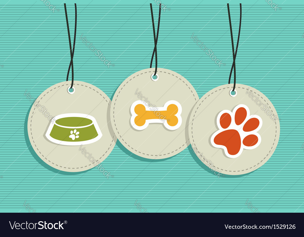 Hanging pet badges set vector