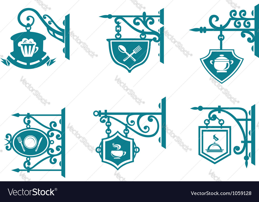 Tavern and pubs signs with decorations vector
