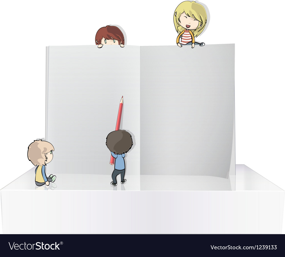 Book with kids on shelves vector