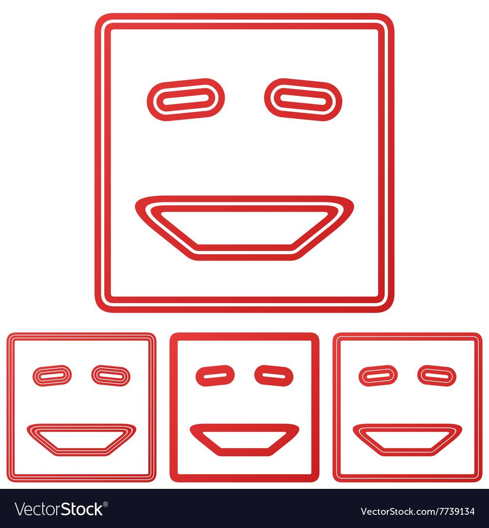 Red line laugh logo design set