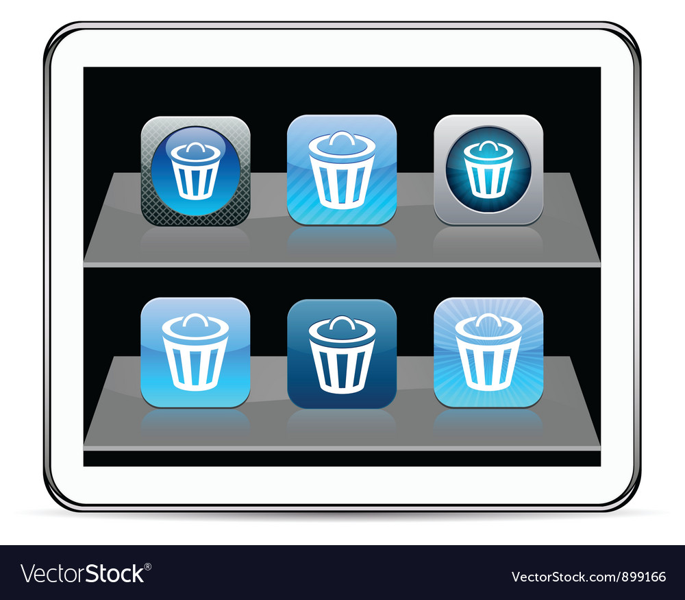 Dustbin blue app vector