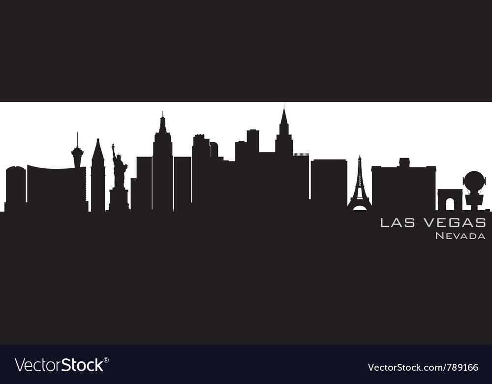 Las vegas nevada skyline detailed silhouette vector