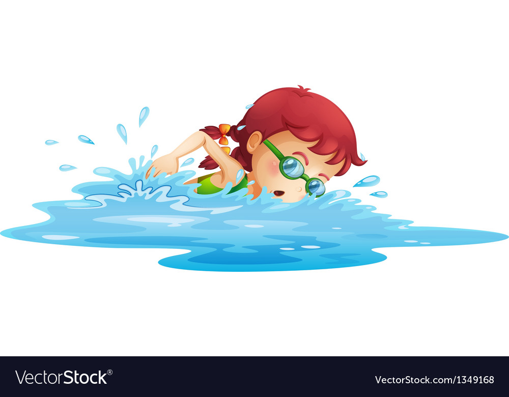 A young girl swimming in her green swimming attire vector