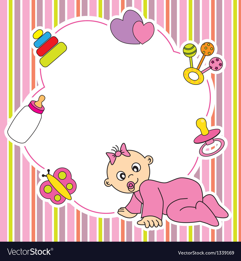 Frame baby girl vector