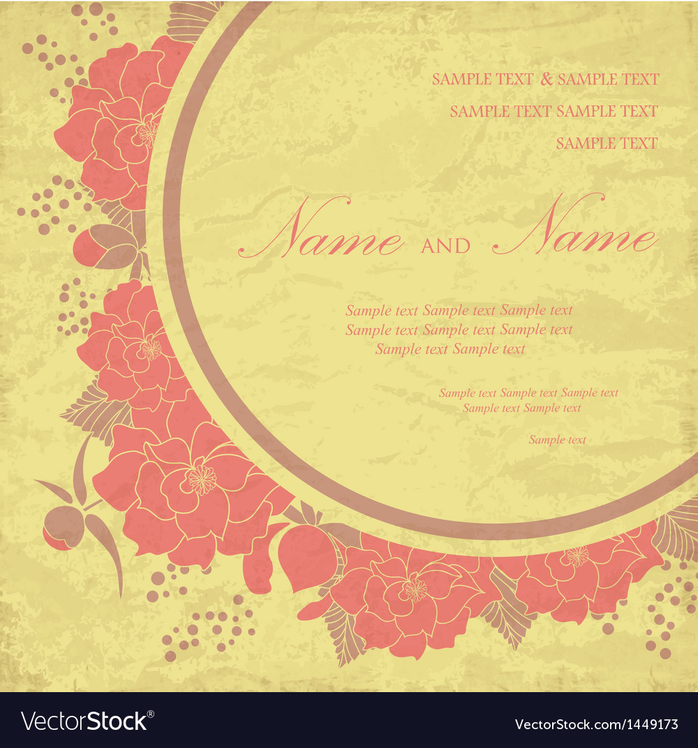 Vintage wedding invitation with flowers vector