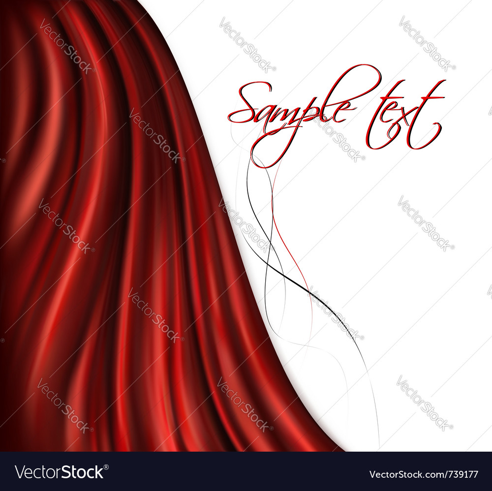Brightly lit red curtain background vector