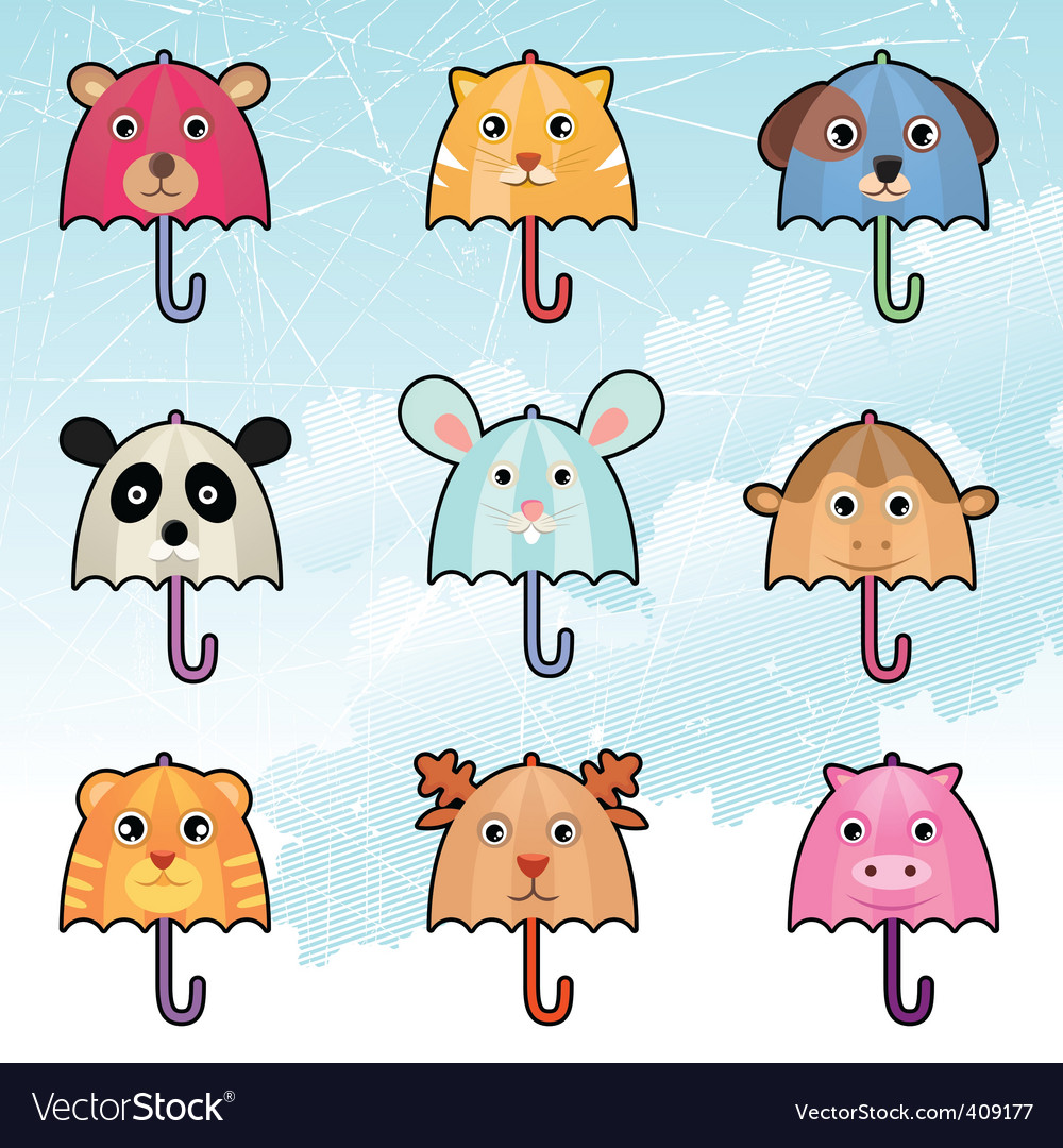 Cute umbrella characters vector