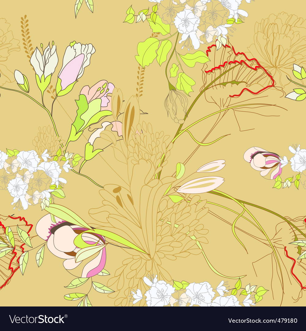 Floral seamless wallpaper vector