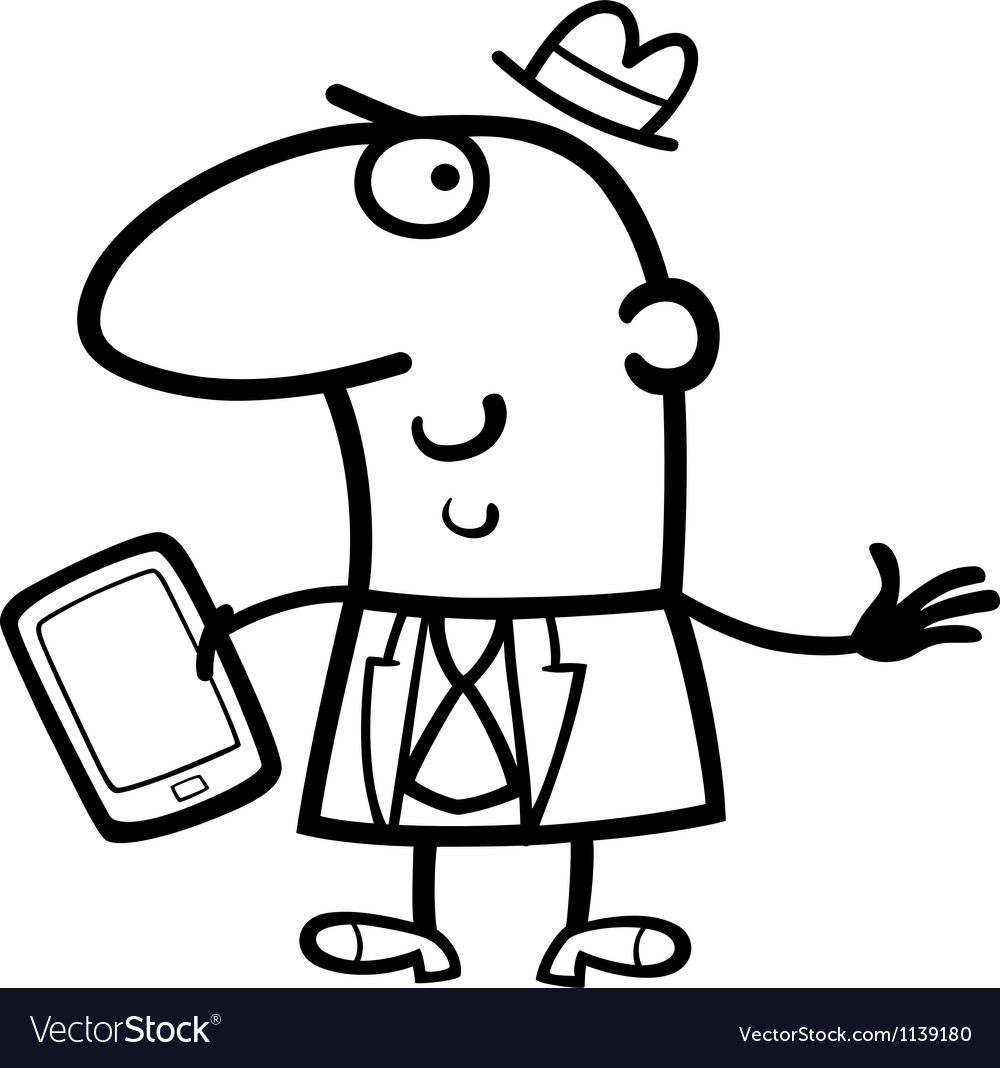 Man with tablet cartoon vector
