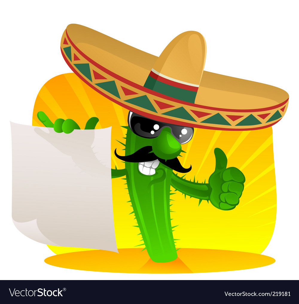 Mexican cactus with scroll vector