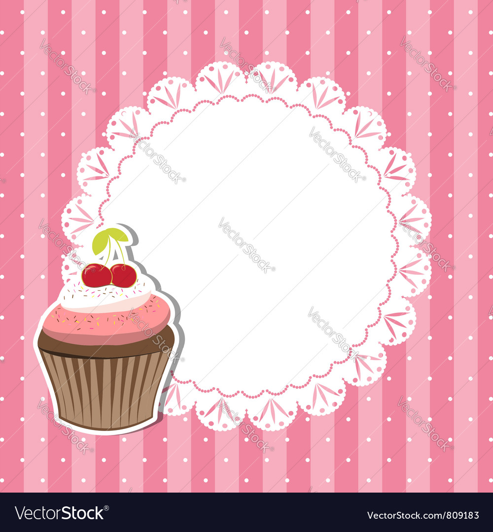Cherry cupcake invitation card vector