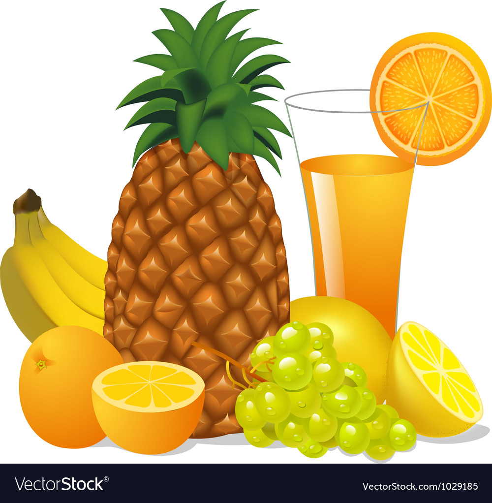Juice and fruits banana pineapple orange grape vector
