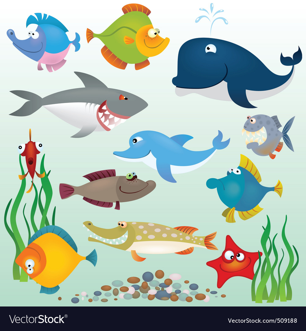 Cartoon fish set vector