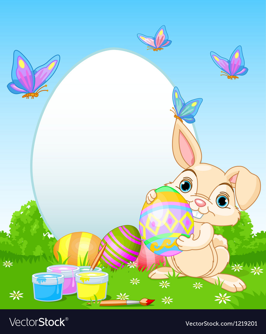 Easter bunny painting easter eggs vector by Dazdraperma - Image ...