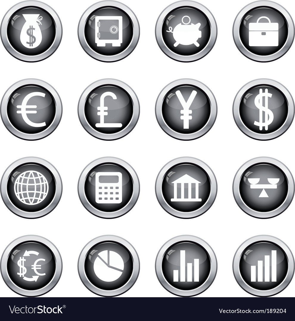 Financial icon set vector