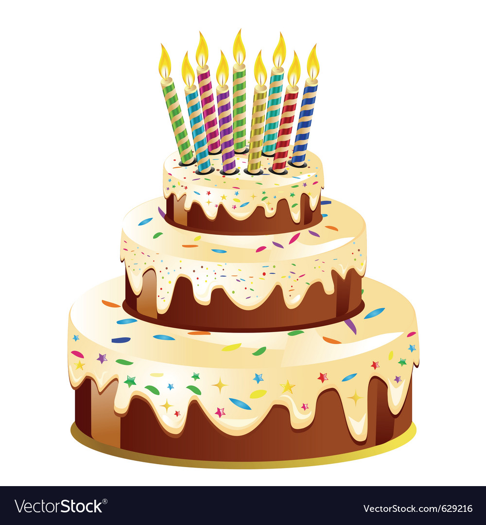 Cartoon Birthday Cake 16 birthday cake and candle vector by rozaliya ...