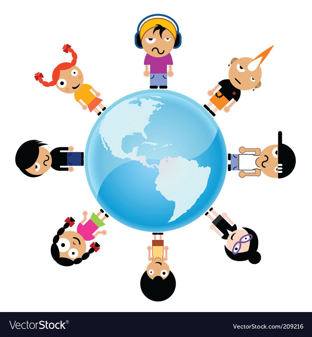 Cartoon kids around the world vector