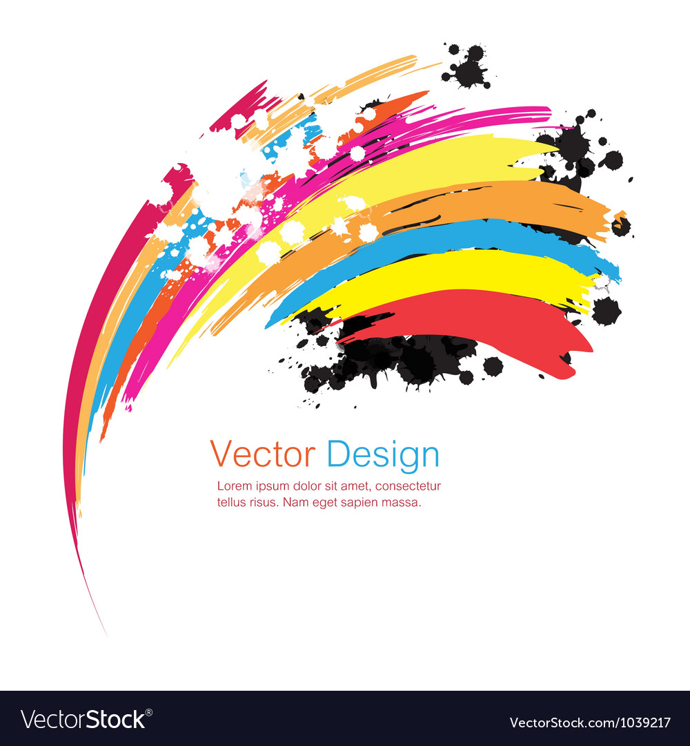 Abstract rainbow ink paint background vector