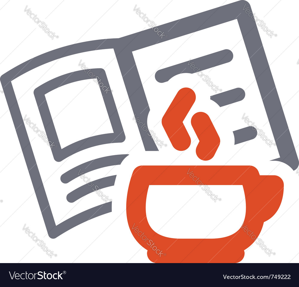 Cup and book sign vector