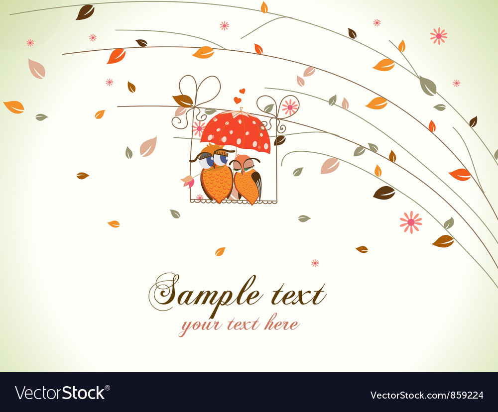 Love birds with floral vector