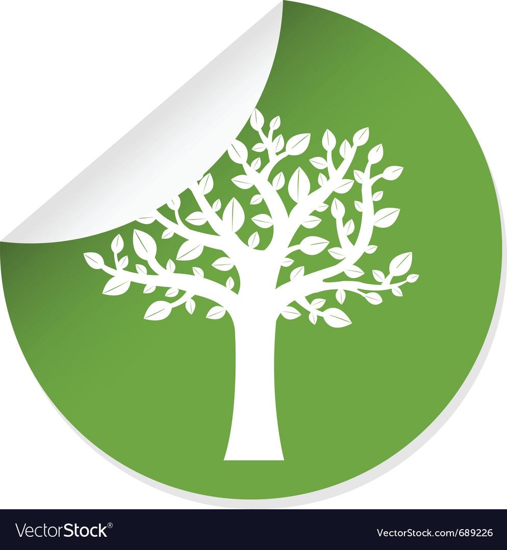 Eco label with tree vector