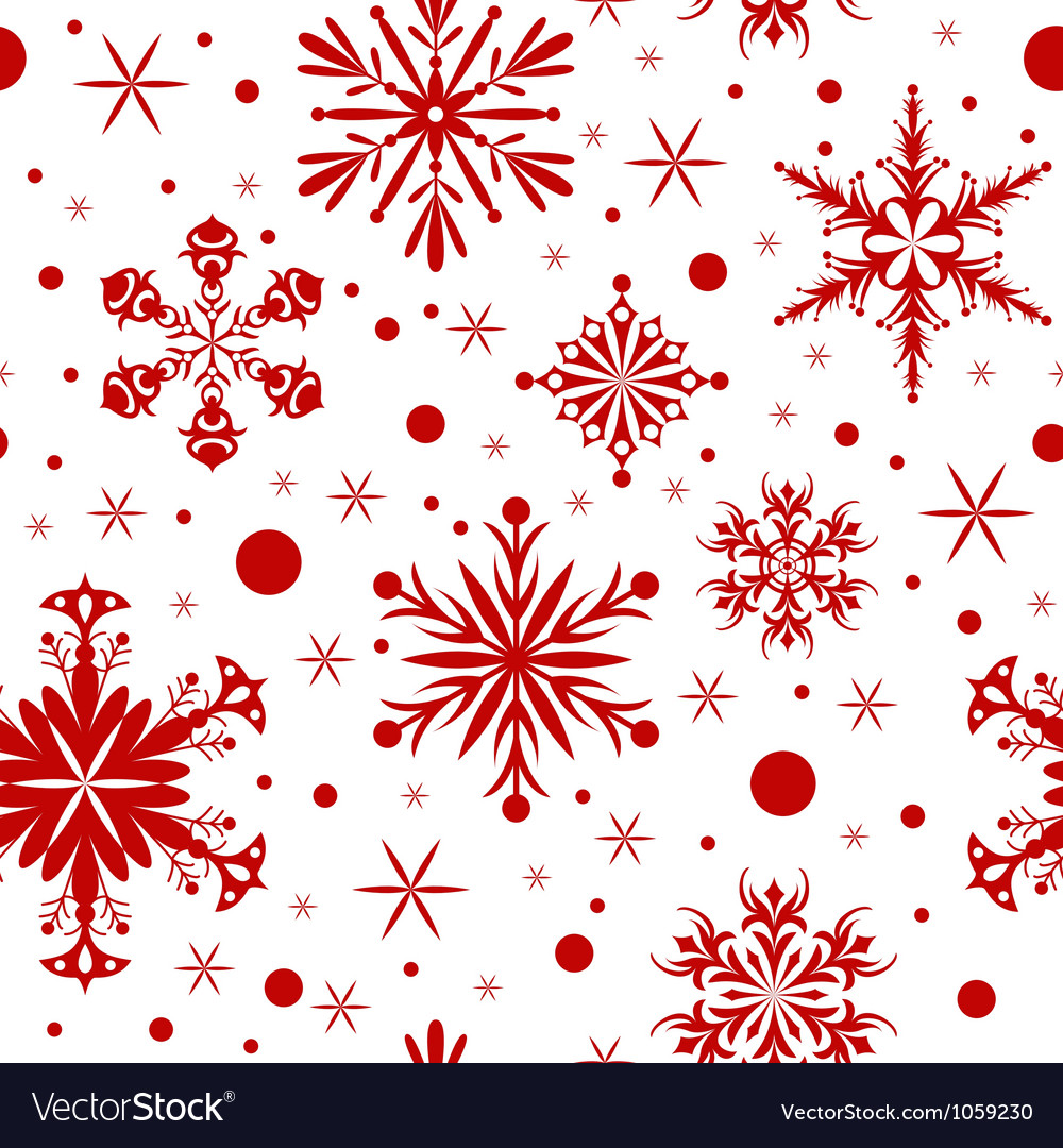 Red christmas seamless background with snowflakes vector