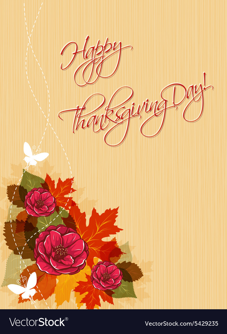 Happy thanksgiving day with flowers
