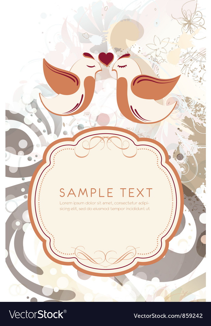 Free love birds with frame for text vector