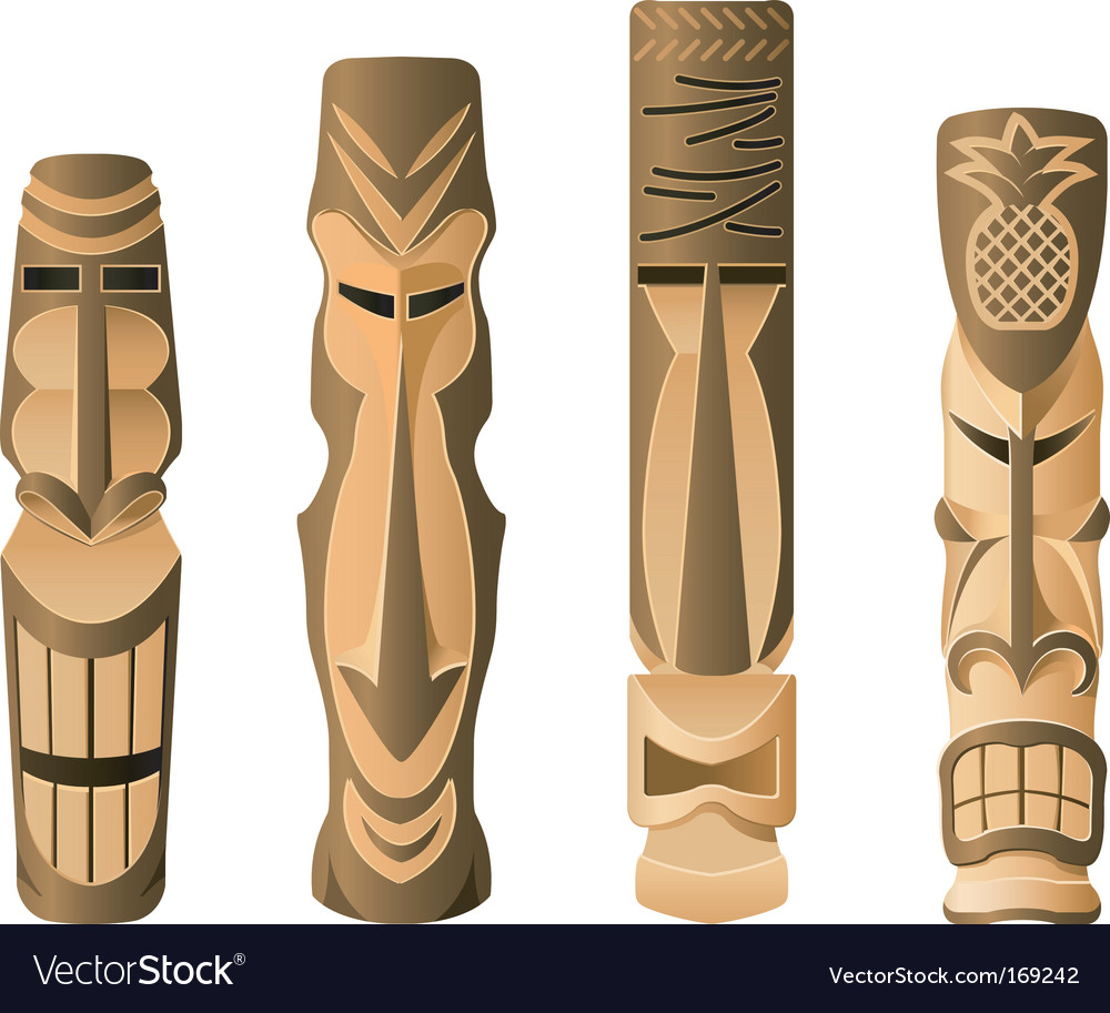 Tiki icons vector