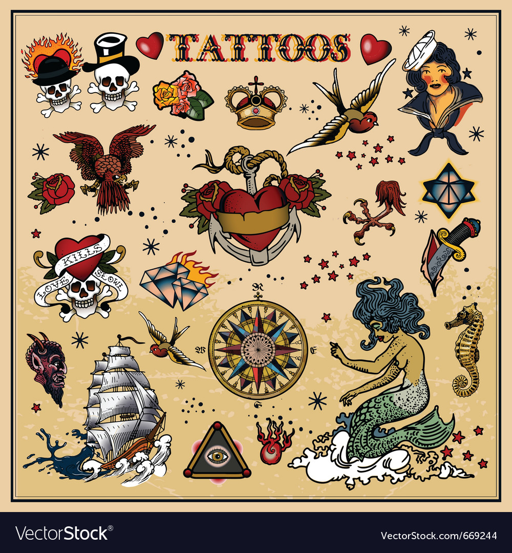 Classic tattoos vector by pathique - Image #669244 - VectorStock