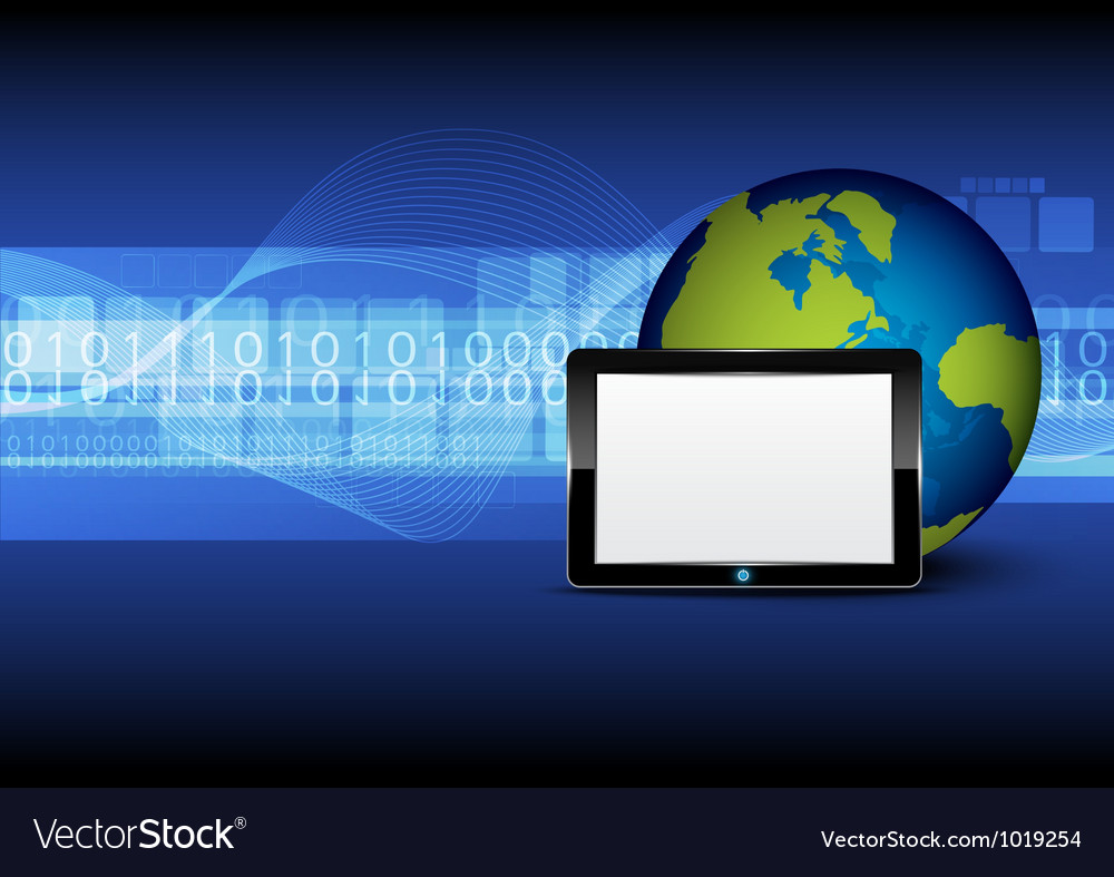 Tablet computer and globe on digital background vector