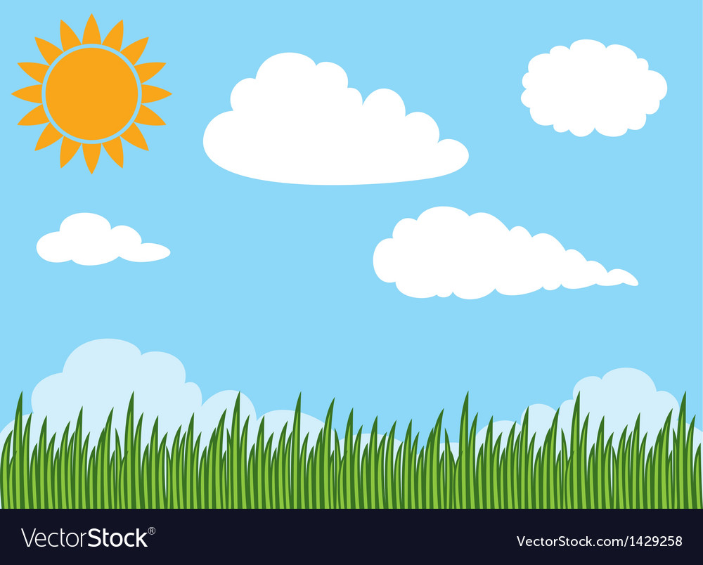 Green grass and clouds vector