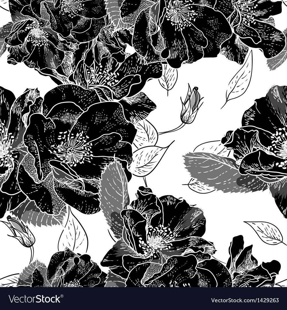 Beautiful monochrome seamless floral pattern vector