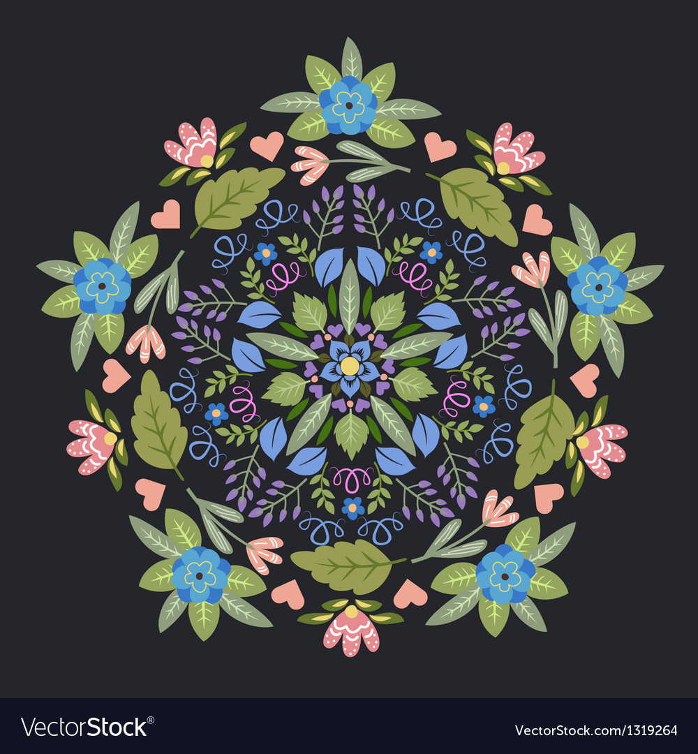 Ornamental floral round pattern vector