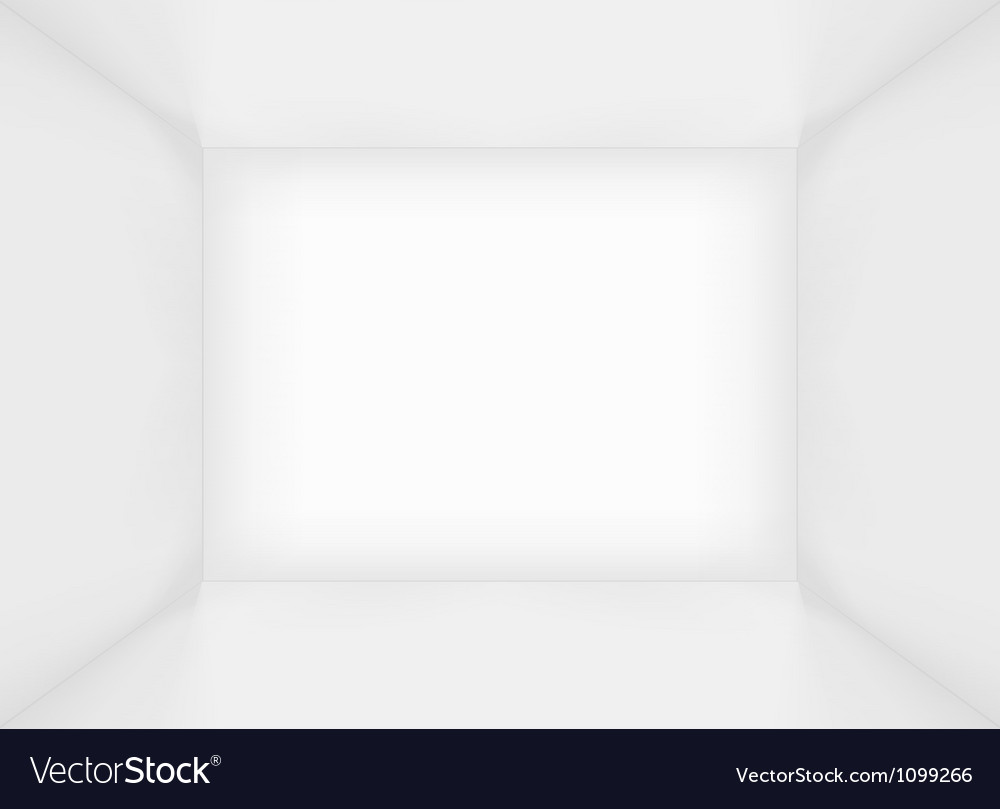 White simple empty room interior vector