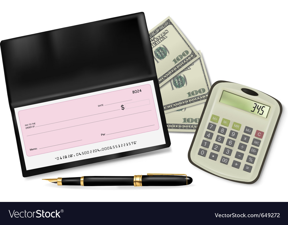 Black checkbook vector