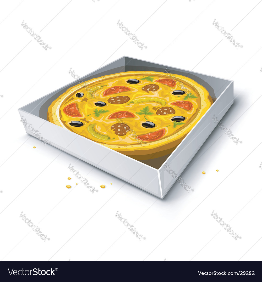 Paper box with pizza vector