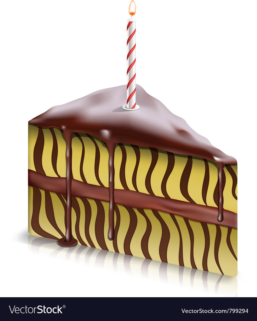 Piece of cake with candle vector