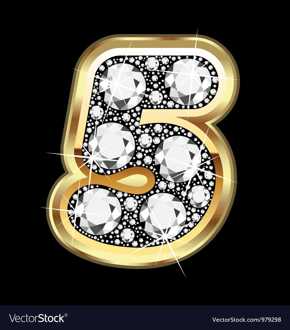 5 number gold and diamond vector